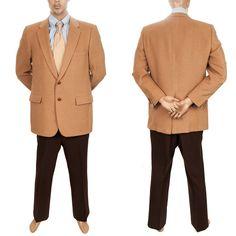 #HartSchaffnerMarx #VintageMensSuit #Retro70sClothing 2 pc Suit #CamelHair 44R #VintagePreOwnedClothing #HSM Mens Blazer Jacket Pants #SomeLikeItUsed #Costume