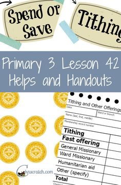 Love these lesson helps and handouts for LDS Primary 3 Lesson 42: Tithing