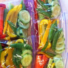 Homeade veggie bags. Make on Sunday and have a grab and go healthy snack for the week!