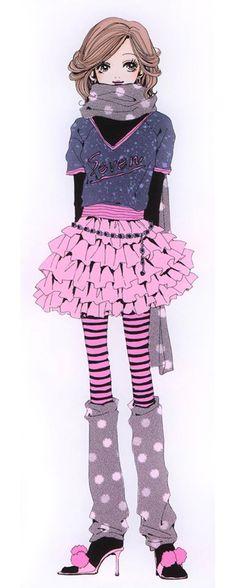 """Nana """"Hachi"""" Komatsu wearing pink tutu ruffle skirt & purple polka dot legwarmers from """"Nana"""" series by manga artist Ai Yazawa."""
