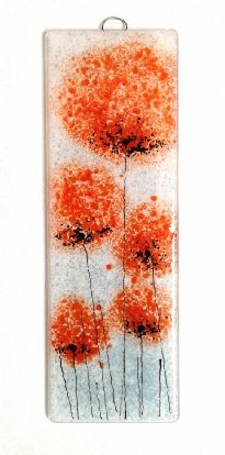 Orange flower fused glass wall art panel handmade, unique glass art by Fired Creations