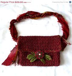 ON SALE Handmade Crochet Purse Fiber Handbag by WildHeartYarnings