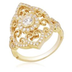 Chad Allison 18KYG Diamond Cutwork Dinner RIng     Chad Allison eighteen-karat yellow gold cutwork dinner ring mounted with eighty-eight round brilliant-cut natural diamonds weighing together 0.76 carat. This ring measures size 6.5 and can be ordered in other sizes.  $3,375.00