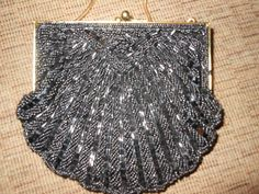 Vintage Black Beaded Evening Bag Purse by PixiesInTheGarden, $20.00