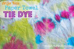 Art for kids: tie dye paper towels
