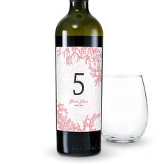 12 x Reef Coral Table Number Wine Label - The Knot Shop Wedding Wine Labels, Wedding Wine Bottles, Beach Wedding Favors, Number Labels, Outdoor Wedding Decorations, Outdoor Weddings, Wedding Centerpieces, Personalized Wine Bottles, Sangria Wine