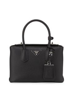 V2FKB Prada Saffiano Cuir Twin Bag, Black (Nero)