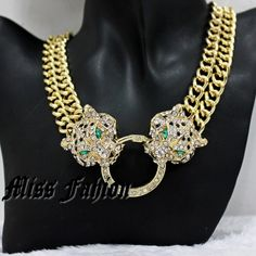 New Free Shipping Hip Hop Cool Gold Chunky chain two sparkling clear crystal studded cheetah Leopard Head Statement Necklace € 7,50