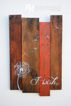 Pallet Art Dandelion Welcome Home Wall von TealElephantBoutique