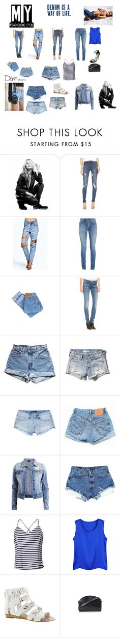 """Denim Jeans & Shorts My Favorite things to Wear"" by rboowybe ❤ liked on Polyvore featuring Superfine, Cheap Monday, Boohoo, Yves Saint Laurent, Levi's, Mother, Abercrombie & Fitch, 3x1, VILA and Fergie"