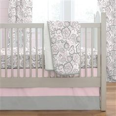 Pink and Gray Jacobean 3-Piece Crib Bedding Set
