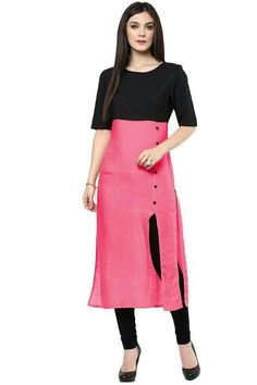 Casual Pink And Black Simple Cotton Kurtis And Kurtas Cotton Casual Kurti #Kurtis #cottonkurtis #printedcottonkurtis #cottonkurta available at ladyindia.com