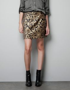 JACQUARD MINI SKIRT - Skirts - Woman - ZARA    LOVE this look. Absolufrigginlutely LOVE zara!