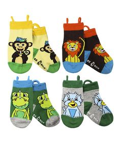 Another great find on #zulily! Green & Brown Jungle Dinosaur Socks Set by EZ SOX #zulilyfinds