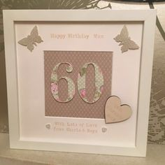 Personalised 18th/21st/30th/40th/50th/60th birthday anniversary Framed Gift in Home, Furniture & DIY, Celebrations & Occasions, Other Celebrations & Occasions | eBay 80th Birthday Cards, Happy 60th Birthday, Birthday Frames, Birthday Box, Craft Frames, 3d Box Frames, Box Frame Art, Scrabble Crafts, Scrabble Frame