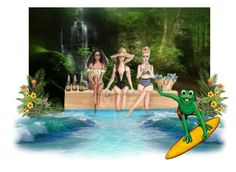 """""""Princesses Watching Frog Surf Contest"""" by sjlew ❤ liked on Polyvore featuring art"""