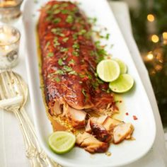 Asian sticky salmon. (marinade) 2tbsp each soy sauce, honey and rice wine vinegar 4tbsp hoisin sauce 2 star anise 2tsp each Thai 7 spice and Thai fish sauce 2 garlic cloves, crushed chopped coriander, finely chopped red chilli and lime wedges, to serve.