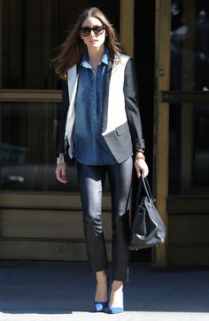 Olivia Palermo wearing Hermes Birkin Bag in Black Tibi Wool Tuxedo Jacket Rolex Oyster Perpetual Datejust watch Bella Dahl Tencera pullover placket shirt Manolo Blahnik BB Point-Toe Pumps New York City October 20 2012