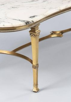 Mid-Century Marble-Top Kidney Shaped Brass Coffee Table 8