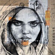 Pushkar - Inde by Stéphanie Ledoux portraits on collaged material amt Art Works, Portrait Drawing, Face Art, Art Drawings, Ap Art, Illustration Art, Visual Art, Collage Art, Portrait Art