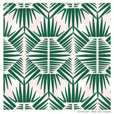 palm leaf, abstract, vintage, green, pink copyright Zoe Wodarz 2016 print on decor
