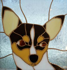 Stained Glass TriColor Chihuahua Black Tan and door MicahsGlass