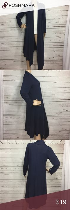 """Long Knee Length Cardigan Nice long blue cardigan. No buttons no zippers. Longer in the front then in the back.sleeves are 22.5"""" long. GUC Sweaters Cardigans"""
