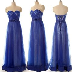 Wedding Party Dresses Sweetheart Lace Up Back Long Tulle Free Custom Made Size Color Elegant Royal Blue Formal Prom Dresses 2015