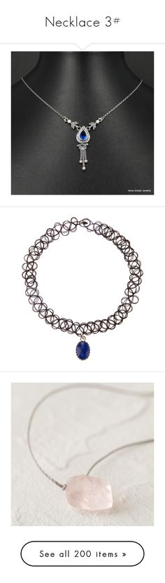 """Necklace 3#"" by randeemalloy ❤ liked on Polyvore featuring jewelry, necklaces, sterling silver cz necklace, sterling silver jewellery, cubic zirconia necklaces, cubic zirconia jewelry, blue sapphire jewelry, accessories, chokers and choker jewelry"