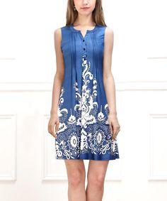 466fa704e Reborn Collection Blue   White Fluer-de-Lis Sleeveless Button-Front Dress -  Women