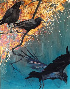 BoldBrush Painting Competition Winner - August 2013 | Crows on Silver by Daniel Bilmes