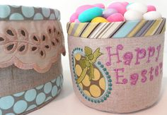 Fabric baskets by snezbabic, via Flickr