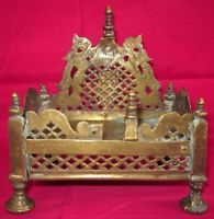 Indian Antique Hand Crafted Engraved Brass Puja Worship God Idols Pedestal