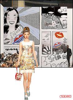 舞台背板的肖像是設計師津森千里的自畫像,1960年代風格的A字洋裝是秋冬重點。