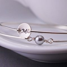 Initial Charm and Pearl Bracelet Set by georgiedesigns