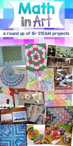 A round up of over 15 great STEAM projects where math concepts are used to make pieces of art!