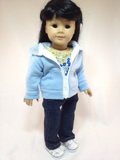 """American Girl Doll Clothes """"The Hannah"""" Eco-friendly Hoodie, Trendy Tee, and Skinny Jeans"""