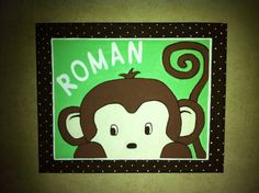 Personalized Hand Painted Baby Monkey Canvas