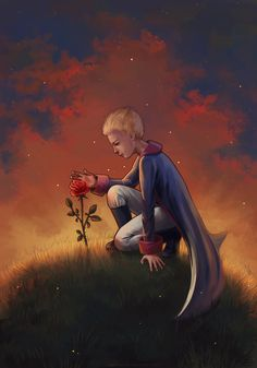 """Illustration to the story """"The Little Prince """" by Antoine de Saint-Exupery. Tools: Photoshop full view please The Little Prince Dibujos Cute, Fairytale Art, The Little Prince, Cute Cartoon Wallpapers, Photo Quotes, Belle Photo, Illustrations Posters, Flower Power, Water Lilies"""