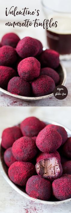 Valentine's amaretto truffles – Lazy Cat Kitchen Hot pink truffles Exchange the liqueur for to tsp almond extract for 2 tbsp liqueur. Just Desserts, Delicious Desserts, Yummy Food, Tasty, Impressive Desserts, Beautiful Desserts, Candy Recipes, Sweet Recipes, Dessert Recipes