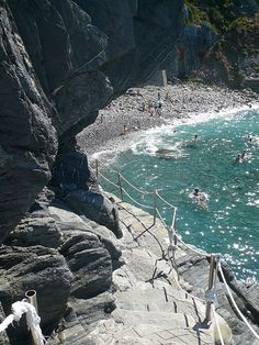 Riomaggiore Beach in Italy ~ Thanks to Alesandra for the photo. She and Dave went there on their honeymoon.
