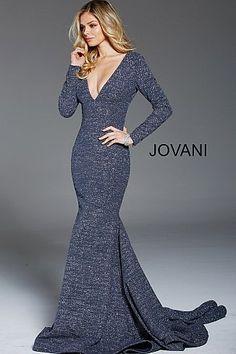 8e11fce738 Gunmetal Long Sleeve Plunging Neck Glitter Evening Dress 57204
