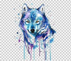 Gray Wolf Tattoo Watercolor Painting Drawing PNG - Free Download