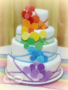 rainbow pinwheel wedding cake