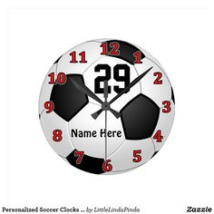 Personalized Soccer Clocks with NAME and NUMBER