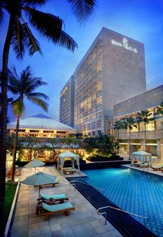 View from the swimming pool Four Seasons Jakarta, indonesia