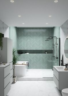 Home Interior Living Room Herringbone tile pattern and marble bathroom Interior Living Room Herringbone tile pattern and marble bathroom Bathroom Design Small, Bathroom Interior Design, Modern Bathroom, Marbel Bathroom, Bathroom Tiling, Modern Laundry Rooms, White Bathroom, Bad Inspiration, Bathroom Inspiration