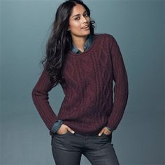 Boxy, Chunky Knit Sweater with Back Button Fastening Grey marl+Ecru+Black+Burgundy