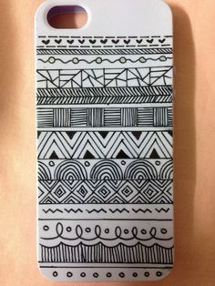 First DIY phone case.. All you need is a plain phone case n a marker pen..  =======Aztec print========