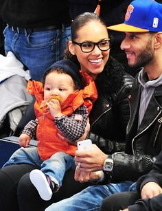 Alicia Keys, Egypt Dean and Swizz Beatz attend a New York Knicks game at Madison Square Garden.